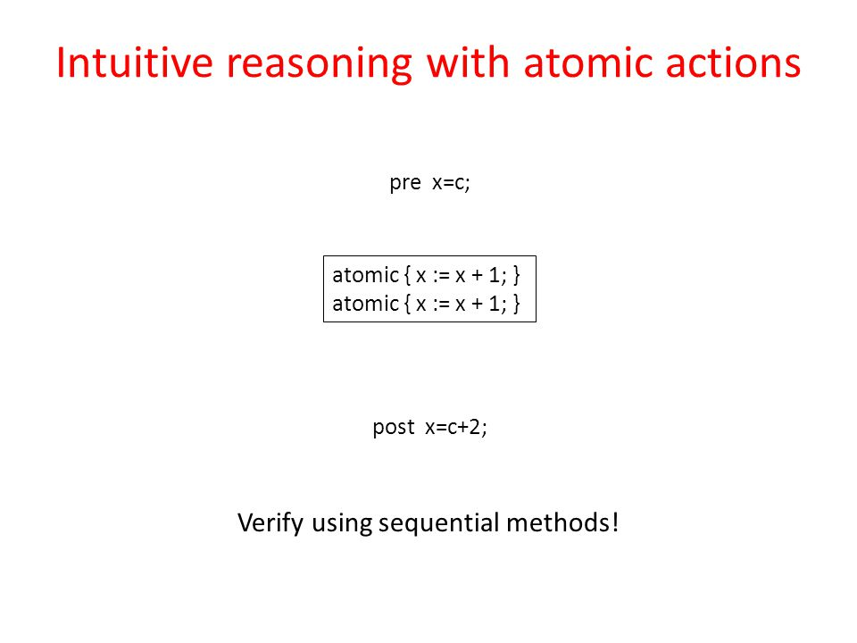 pre x=c; post x=c+2; atomic { x := x + 1; } Intuitive reasoning with atomic actions Verify using sequential methods!