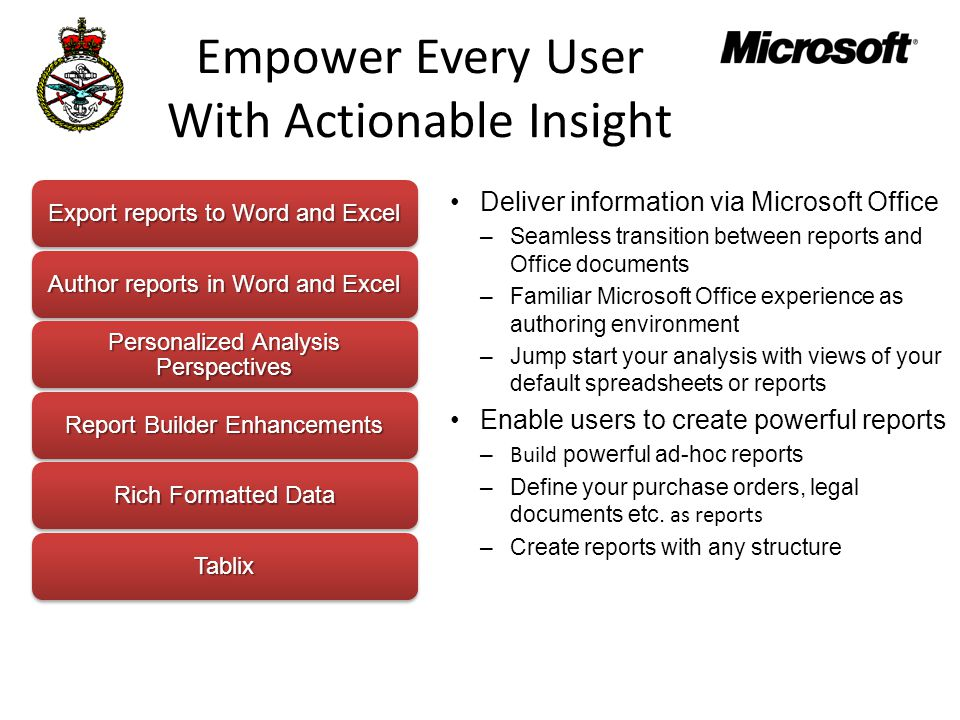 Empower Every User With Actionable Insight Deliver information via Microsoft Office –Seamless transition between reports and Office documents –Familiar Microsoft Office experience as authoring environment –Jump start your analysis with views of your default spreadsheets or reports Enable users to create powerful reports – Build powerful ad-hoc reports –Define your purchase orders, legal documents etc.