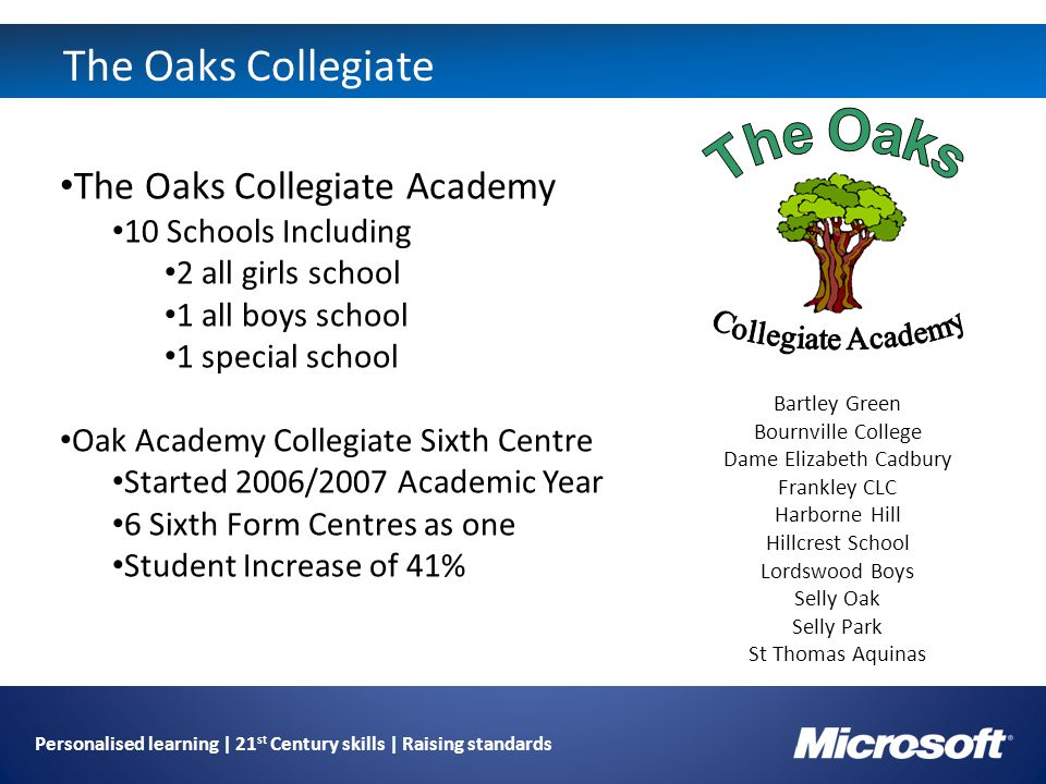 The Oaks Collegiate The Oaks Collegiate Academy 10 Schools Including 2 all girls school 1 all boys school 1 special school Oak Academy Collegiate Sixth Centre Started 2006/2007 Academic Year 6 Sixth Form Centres as one Student Increase of 41% Bartley Green Bournville College Dame Elizabeth Cadbury Frankley CLC Harborne Hill Hillcrest School Lordswood Boys Selly Oak Selly Park St Thomas Aquinas