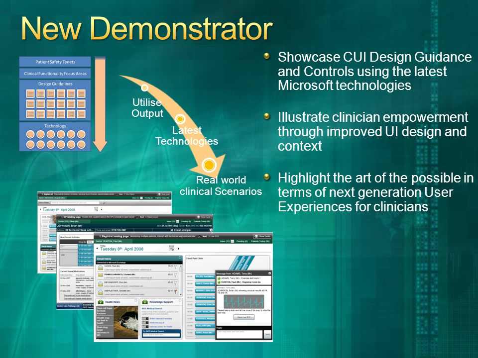 Showcase CUI Design Guidance and Controls using the latest Microsoft technologies Illustrate clinician empowerment through improved UI design and context Highlight the art of the possible in terms of next generation User Experiences for clinicians Real world clinical Scenarios