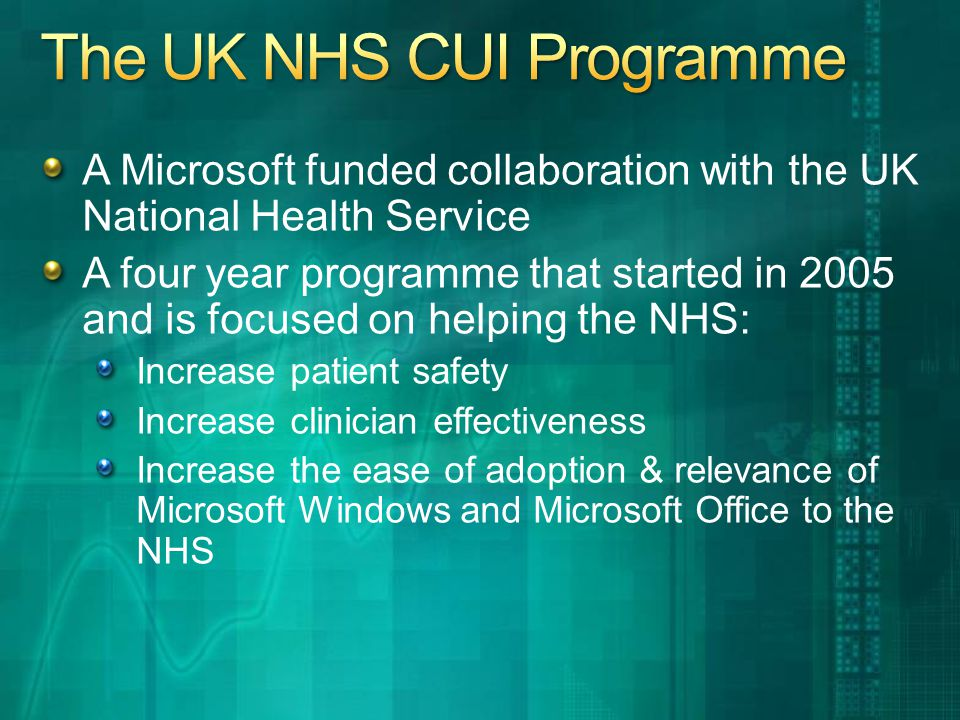 A Microsoft funded collaboration with the UK National Health Service A four year programme that started in 2005 and is focused on helping the NHS: Increase patient safety Increase clinician effectiveness Increase the ease of adoption & relevance of Microsoft Windows and Microsoft Office to the NHS