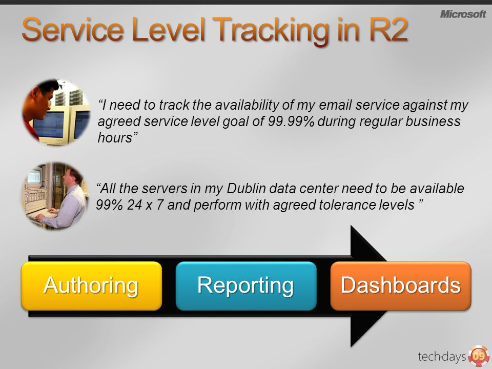 I need to track the availability of my email service against my agreed service level goal of 99.99% during regular business hours All the servers in my Dublin data center need to be available 99% 24 x 7 and perform with agreed tolerance levels AuthoringReportingDashboards