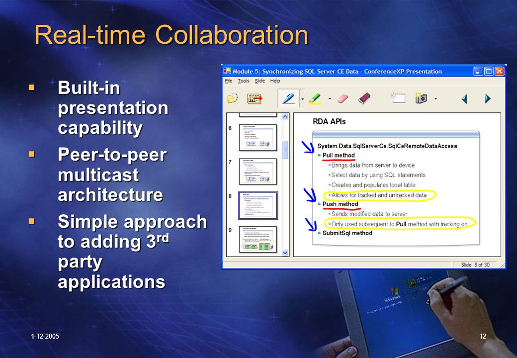1-12-200512 Real-time Collaboration Real-time Collaboration  Built-in presentation capability  Peer-to-peer multicast architecture  Simple approach to adding 3 rd party applications