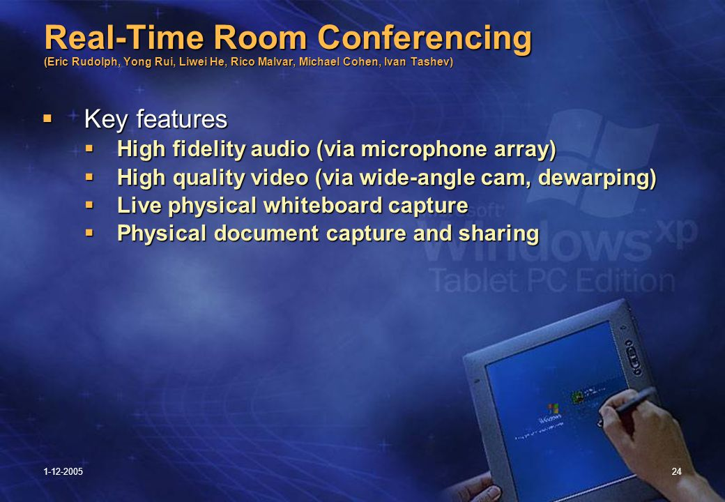 1-12-200524 Real-Time Room Conferencing (Eric Rudolph, Yong Rui, Liwei He, Rico Malvar, Michael Cohen, Ivan Tashev)  Key features  High fidelity audio (via microphone array)  High quality video (via wide-angle cam, dewarping)  Live physical whiteboard capture  Physical document capture and sharing