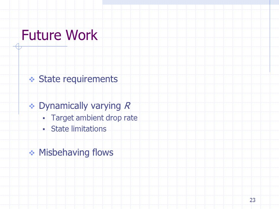 23 Future Work  State requirements  Dynamically varying R  Target ambient drop rate  State limitations  Misbehaving flows