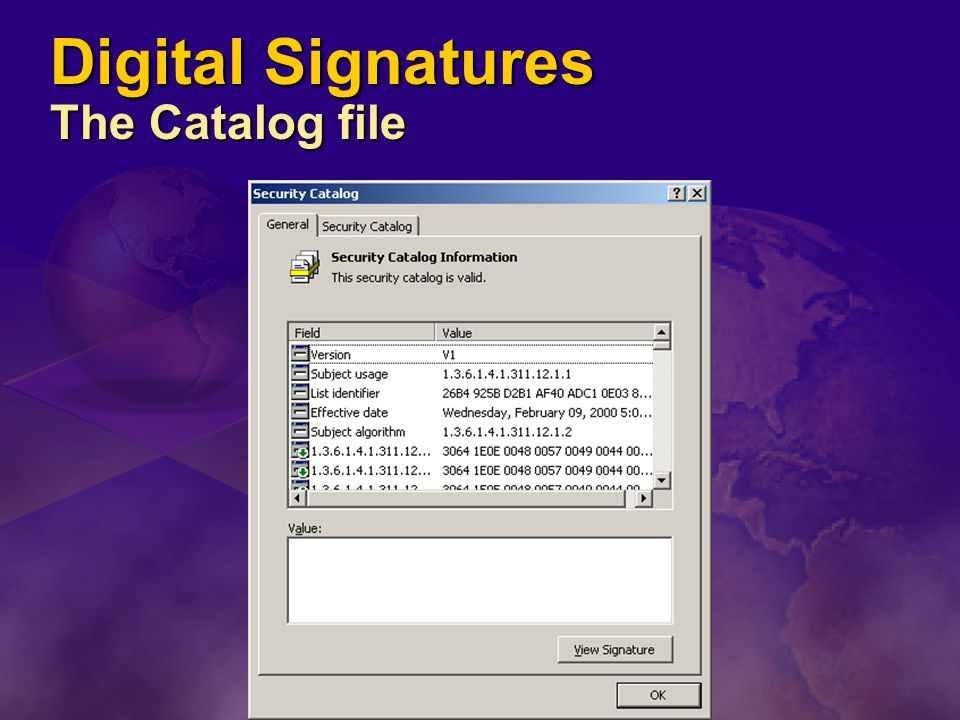 Digital Signatures The Catalog file