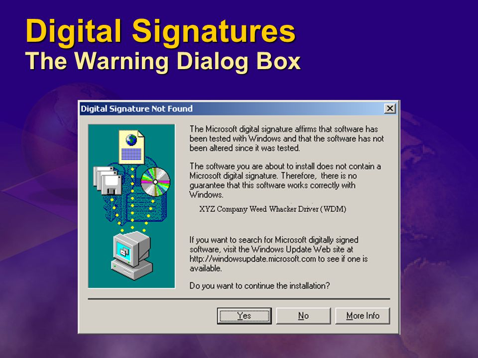 Digital Signatures The Warning Dialog Box