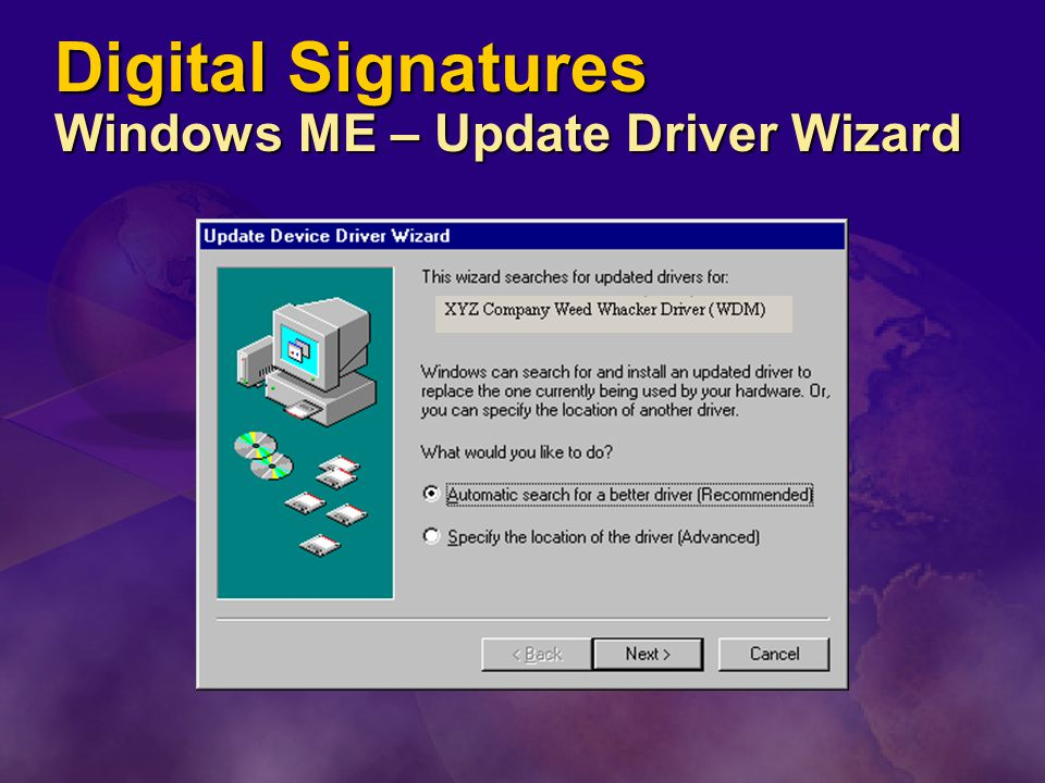Digital Signatures Windows ME – Update Driver Wizard