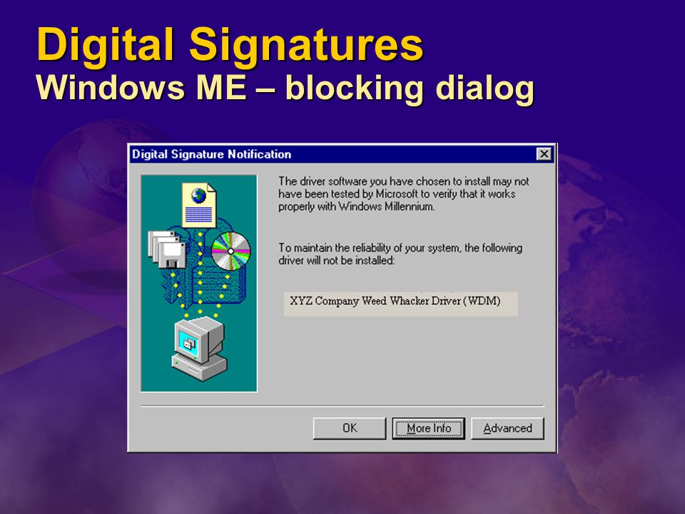 Digital Signatures Windows ME – blocking dialog