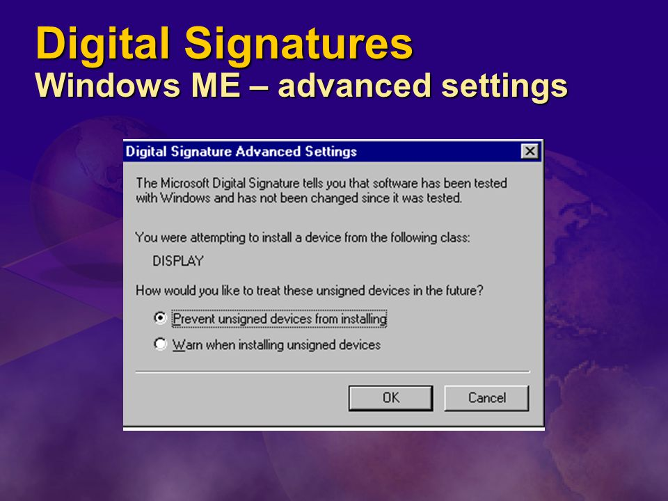 Digital Signatures Windows ME – advanced settings