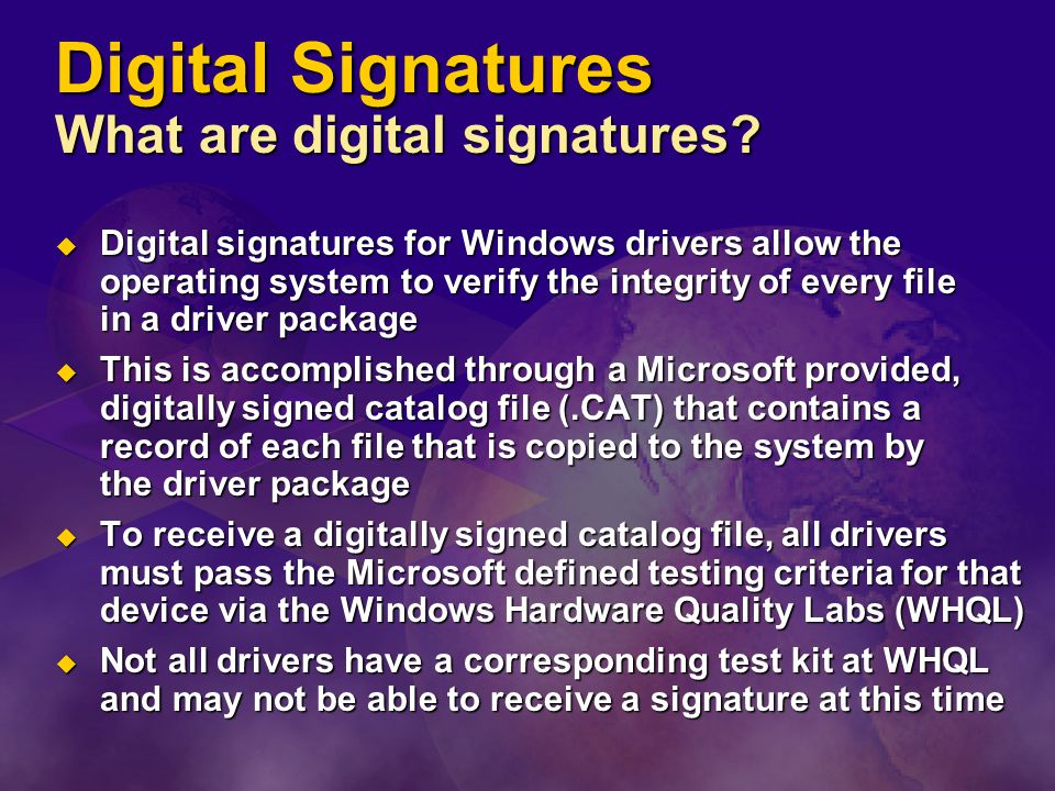 Digital Signatures What are digital signatures.