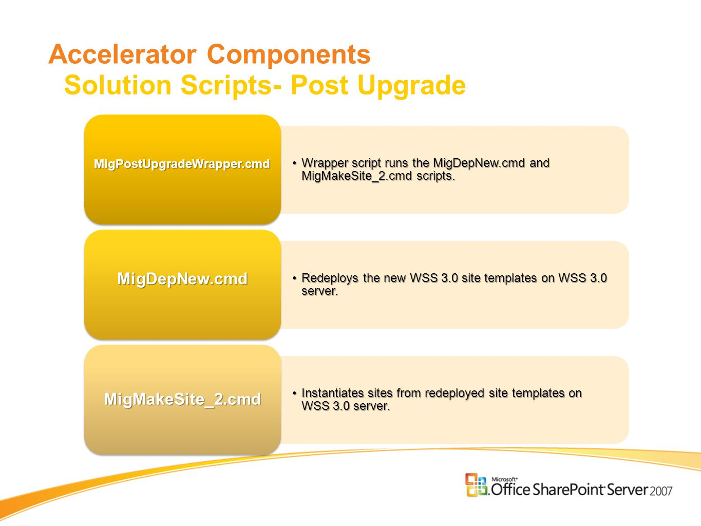 Accelerator Components Solution Scripts- Post Upgrade Wrapper script runs the MigDepNew.cmd and MigMakeSite_2.cmd scripts.Wrapper script runs the MigDepNew.cmd and MigMakeSite_2.cmd scripts.