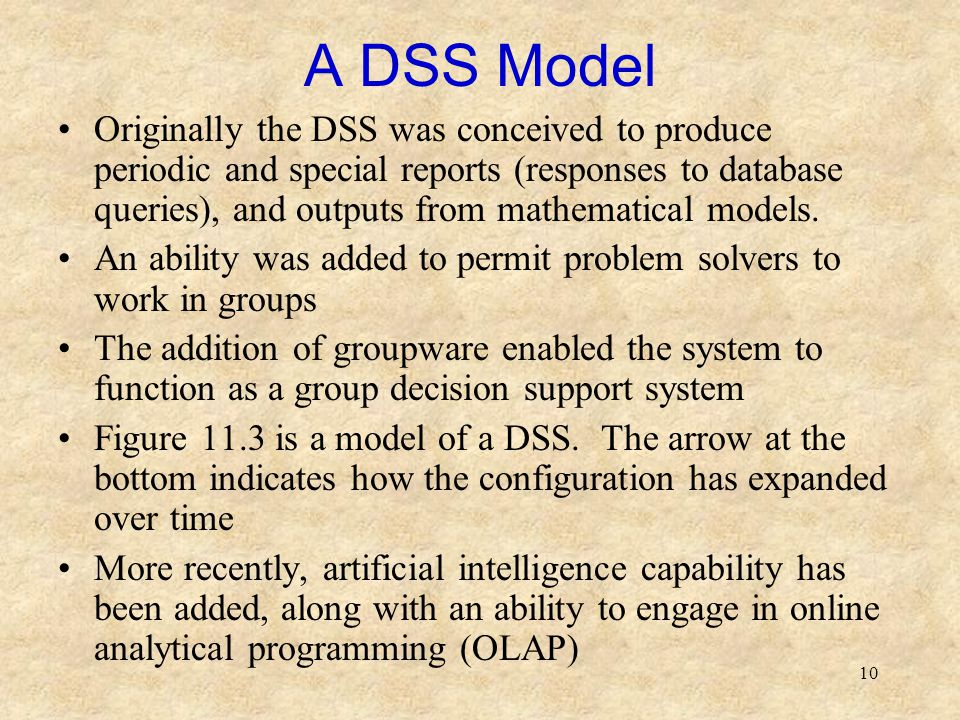 10 A DSS Model Originally the DSS was conceived to produce periodic and special reports (responses to database queries), and outputs from mathematical models.