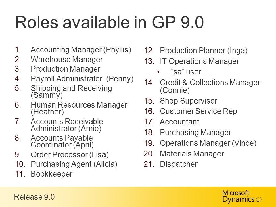 Release 9.0 Roles available in GP 9.0  Accounting Manager (Phyllis)  Warehouse Manager  Production Manager  Payroll Administrator (Penny)  Shipping and Receiving (Sammy)  Human Resources Manager (Heather)  Accounts Receivable Administrator (Arnie)  Accounts Payable Coordinator (April)  Order Processor (Lisa)  Purchasing Agent (Alicia)  Bookkeeper  Production Planner (Inga)  IT Operations Manager sa user  Credit & Collections Manager (Connie)  Shop Supervisor  Customer Service Rep  Accountant  Purchasing Manager  Operations Manager (Vince)  Materials Manager  Dispatcher