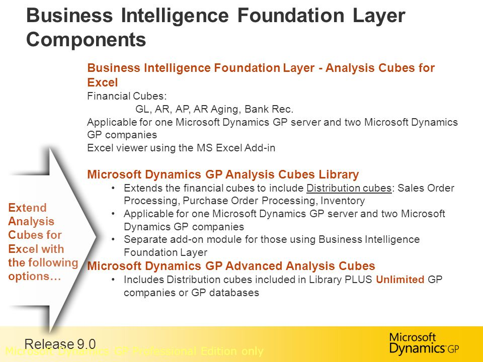 Release 9.0 Business Intelligence Foundation Layer Components Business Intelligence Foundation Layer - Analysis Cubes for Excel Financial Cubes: GL, AR, AP, AR Aging, Bank Rec.