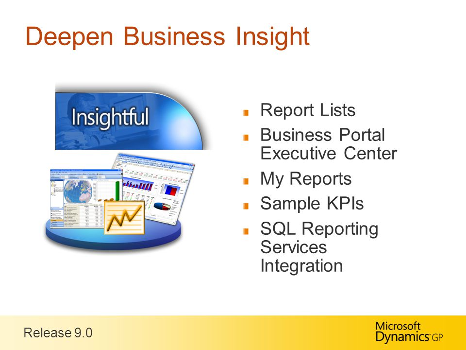 Release 9.0 Deepen Business Insight Report Lists Business Portal Executive Center My Reports Sample KPIs SQL Reporting Services Integration