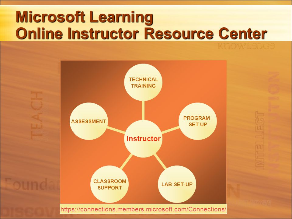 Microsoft Learning Online Instructor Resource Center Instructor TECHNICAL TRAINING PROGRAM SET UP LAB SET-UP CLASSROOM SUPPORT ASSESSMENT https://connections.members.microsoft.com/Connections/