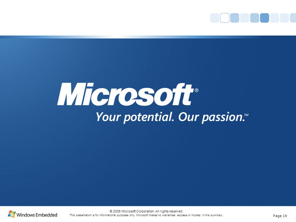 Page 19 © 2006 Microsoft Corporation. All rights reserved.