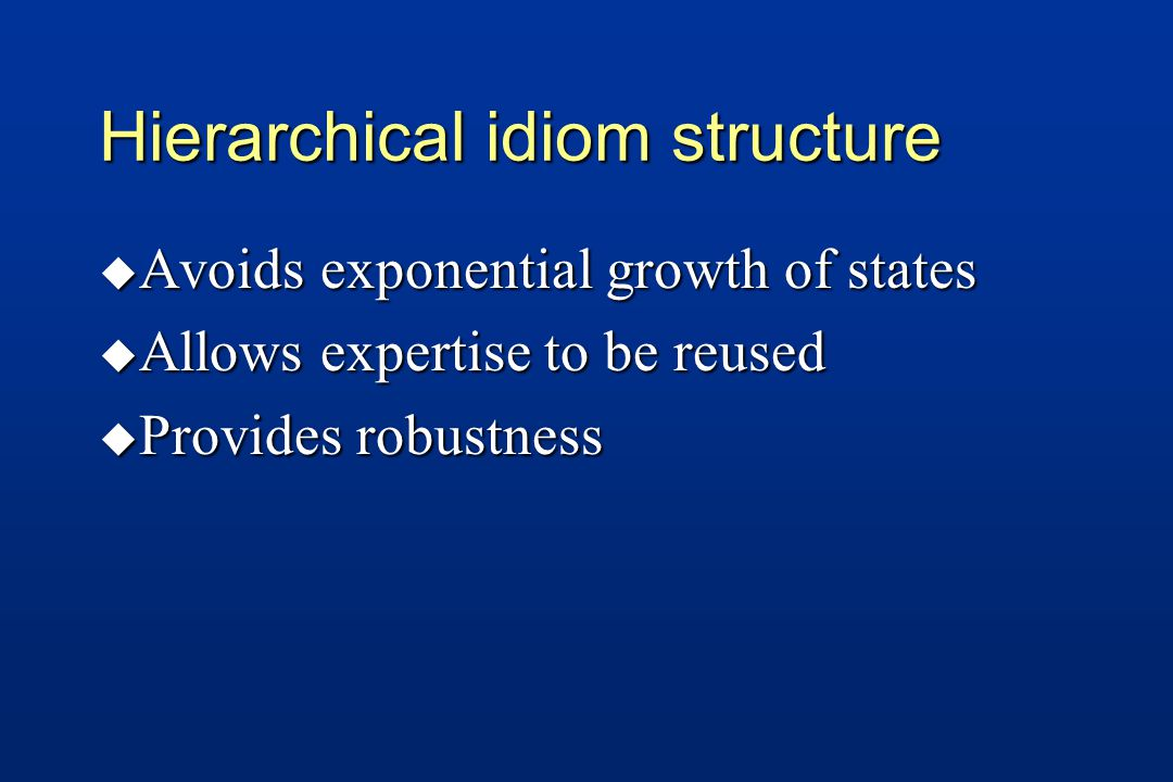 Hierarchical idiom structure u Avoids exponential growth of states u Allows expertise to be reused u Provides robustness