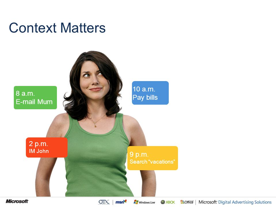 8 a.m. E-mail Mum 2 p.m. IM John 10 a.m. Pay bills 9 p.m. Search vacations Context Matters