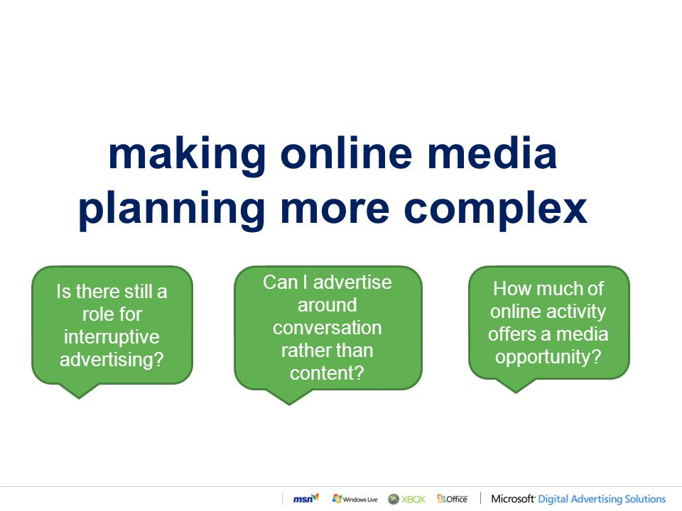 making online media planning more complex Can I advertise around conversation rather than content.