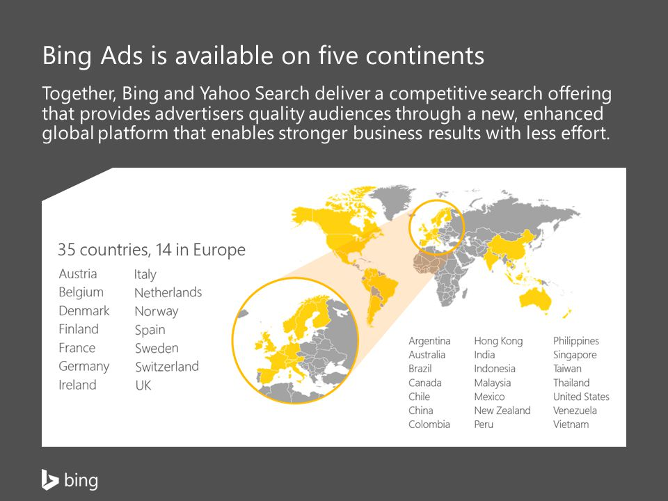 Bing Ads is available on five continents