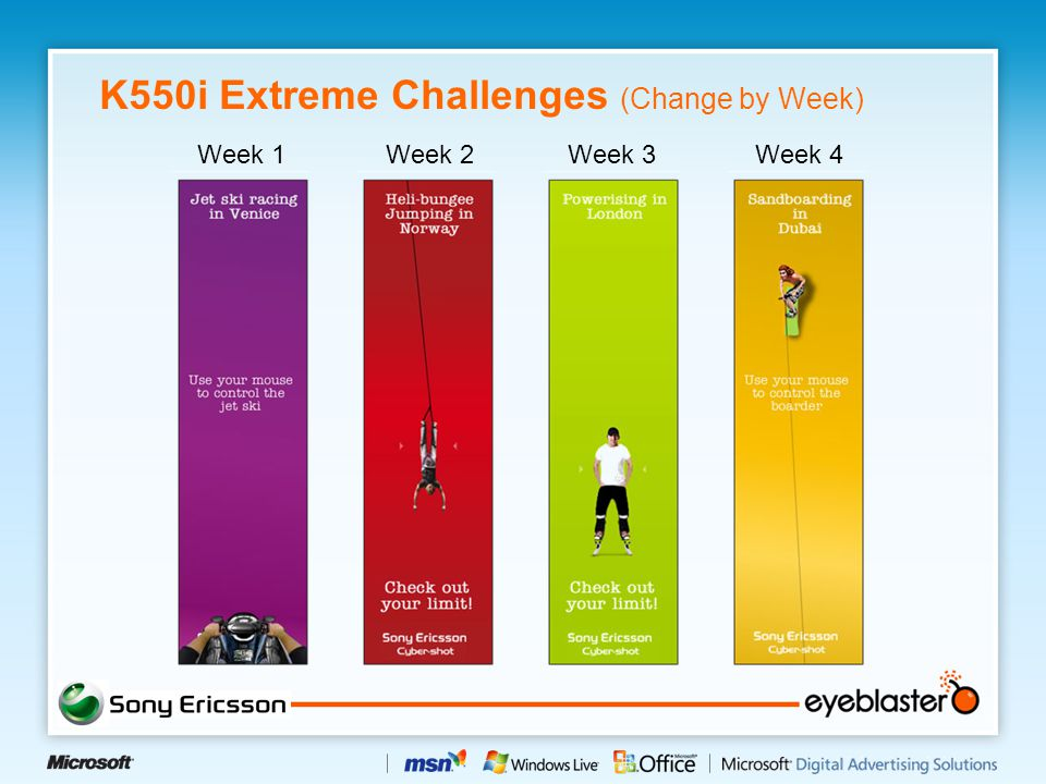 K550i Extreme Challenges (Change by Week) Week 1Week 2Week 4Week 3
