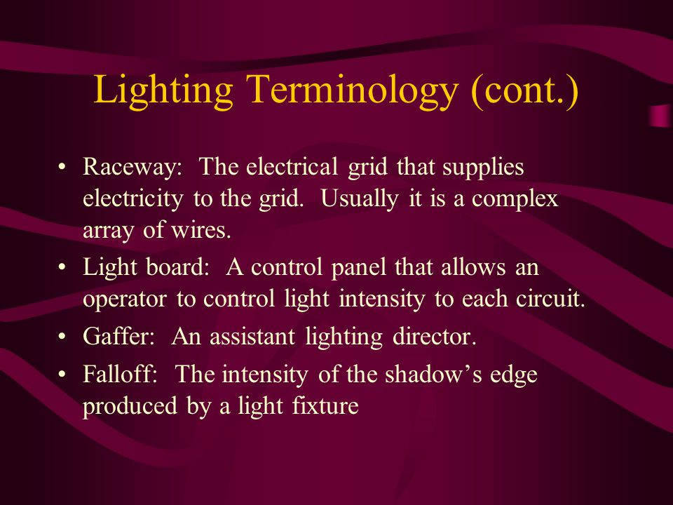 Lighting Terminology (cont.) Raceway: The electrical grid that supplies electricity to the grid.
