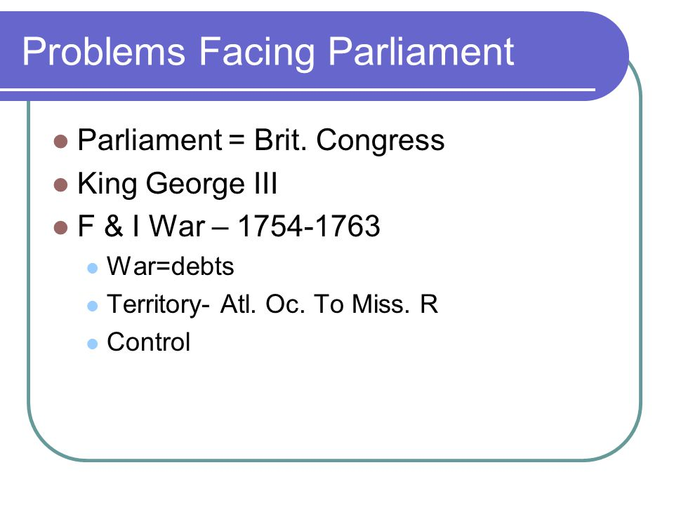 Problems Facing Parliament Parliament = Brit.