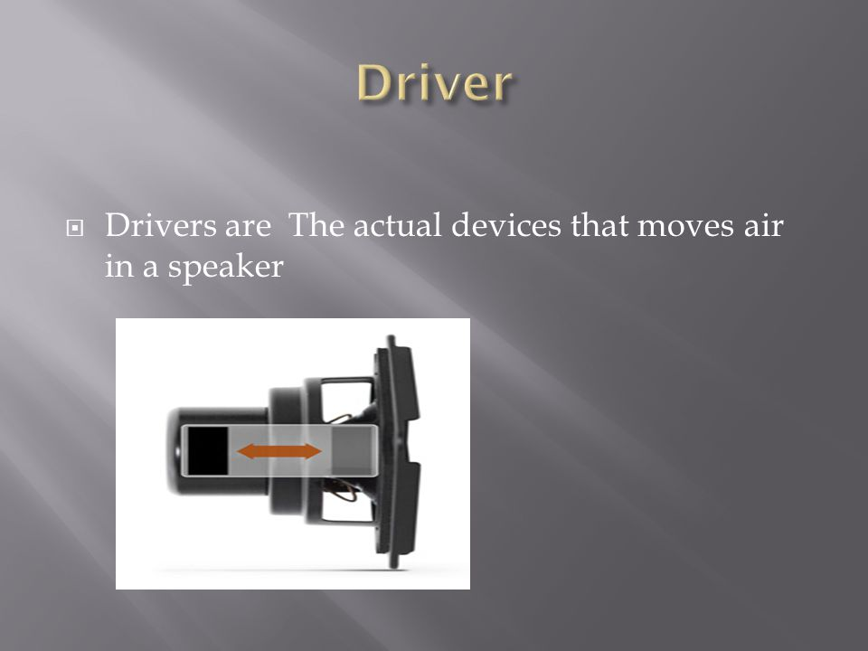  Drivers are The actual devices that moves air in a speaker