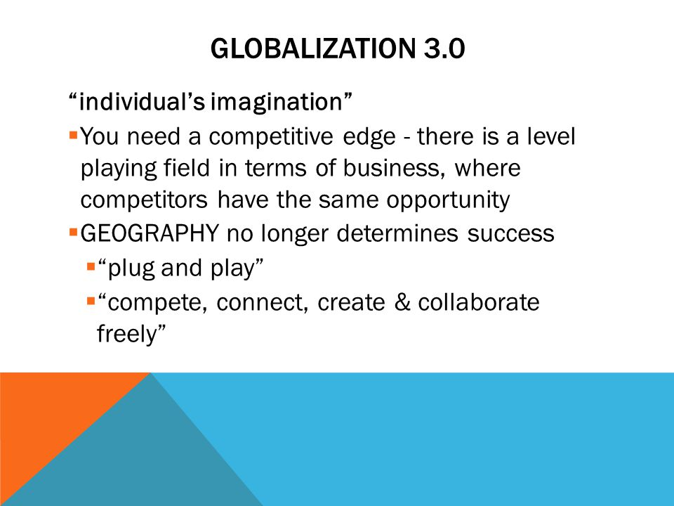 GLOBALIZATION 3.0 individual's imagination  You need a competitive edge - there is a level playing field in terms of business, where competitors have the same opportunity  GEOGRAPHY no longer determines success  plug and play  compete, connect, create & collaborate freely