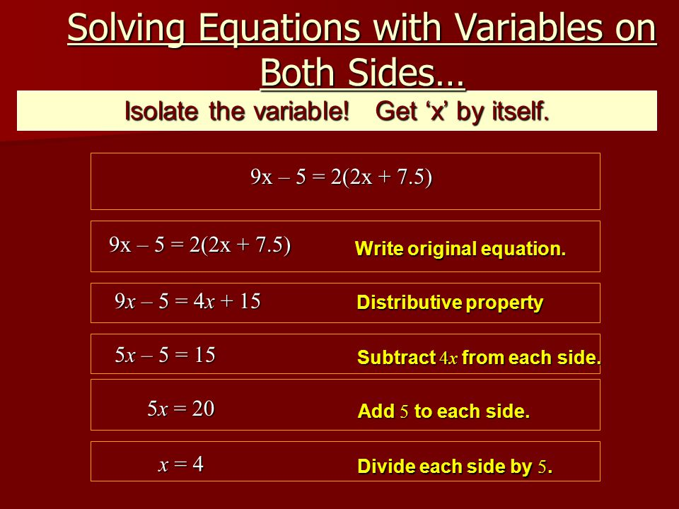 Isolate the variable. Get 'x' by itself.