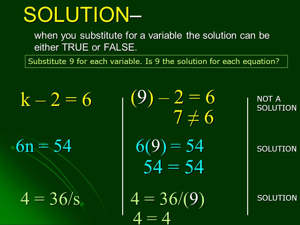 SOLUTION– when you substitute for a variable the solution can be either TRUE or FALSE.