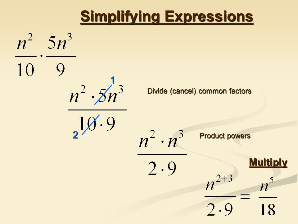 Simplifying Expressions Divide (cancel) common factors Multiply 2 1 Product powers