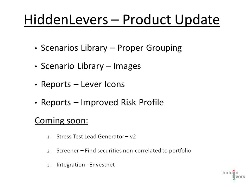 HiddenLevers – Product Update Scenarios Library – Proper Grouping Scenario Library – Images Reports – Lever Icons Reports – Improved Risk Profile Coming soon: 1.