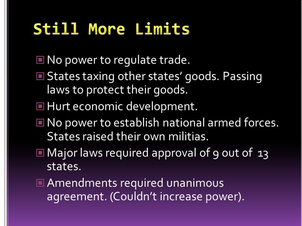 No power to regulate trade. States taxing other states' goods.