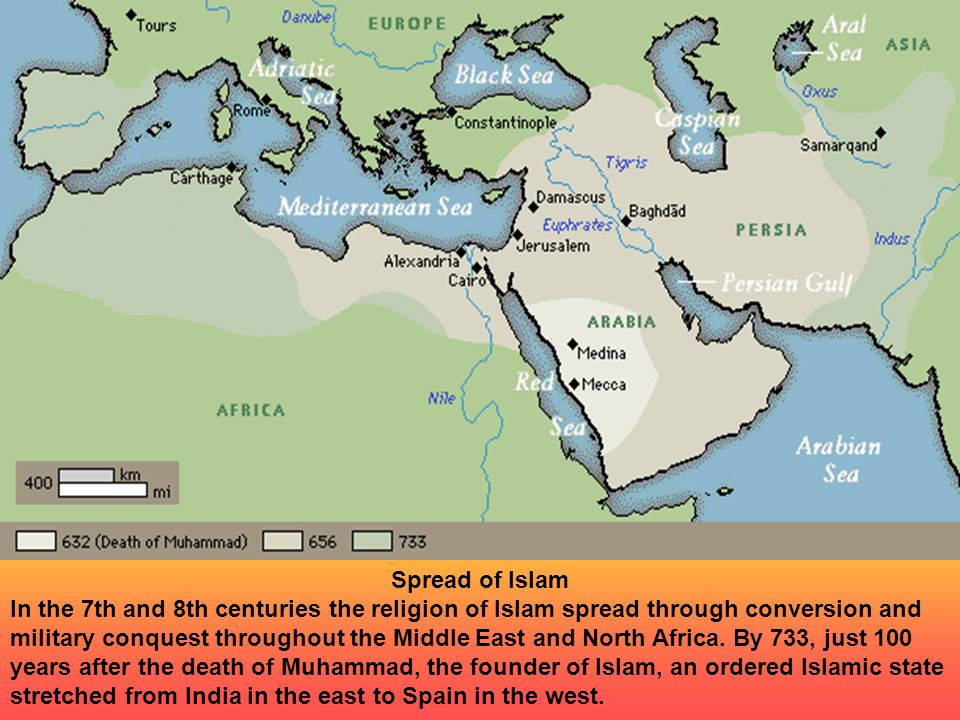 Spread of Islam In the 7th and 8th centuries the religion of Islam spread through conversion and military conquest throughout the Middle East and North Africa.