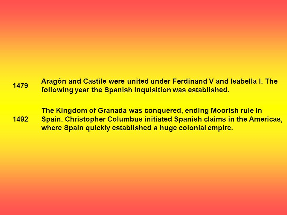 1479 Aragón and Castile were united under Ferdinand V and Isabella I.
