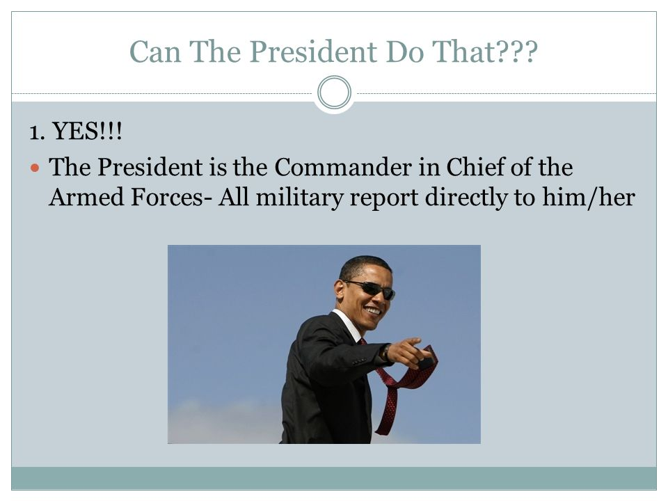 Can The President Do That . 1. YES!!.