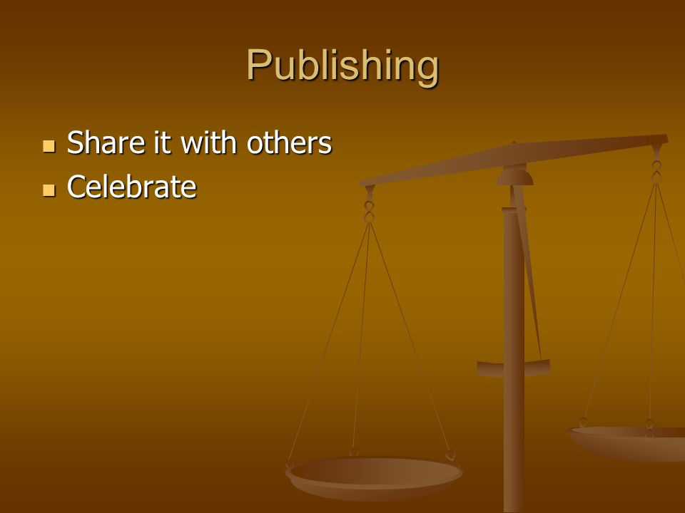 Publishing Share it with others Share it with others Celebrate Celebrate