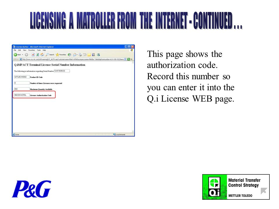 This page shows the authorization code.
