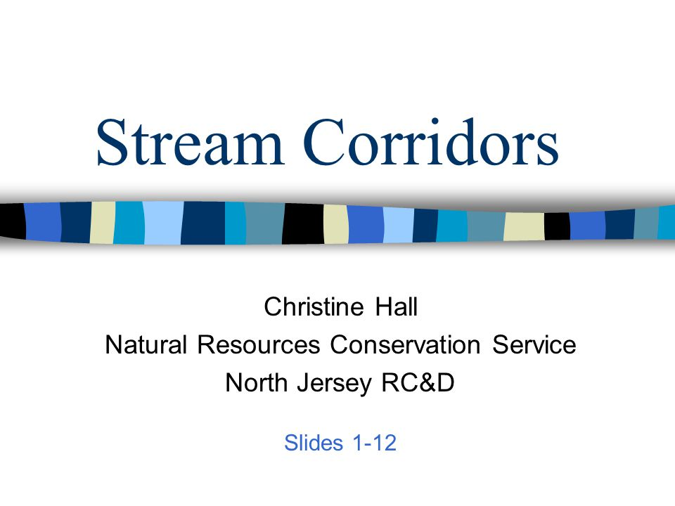 Stream Corridors Christine Hall Natural Resources Conservation Service North Jersey RC&D Slides 1-12