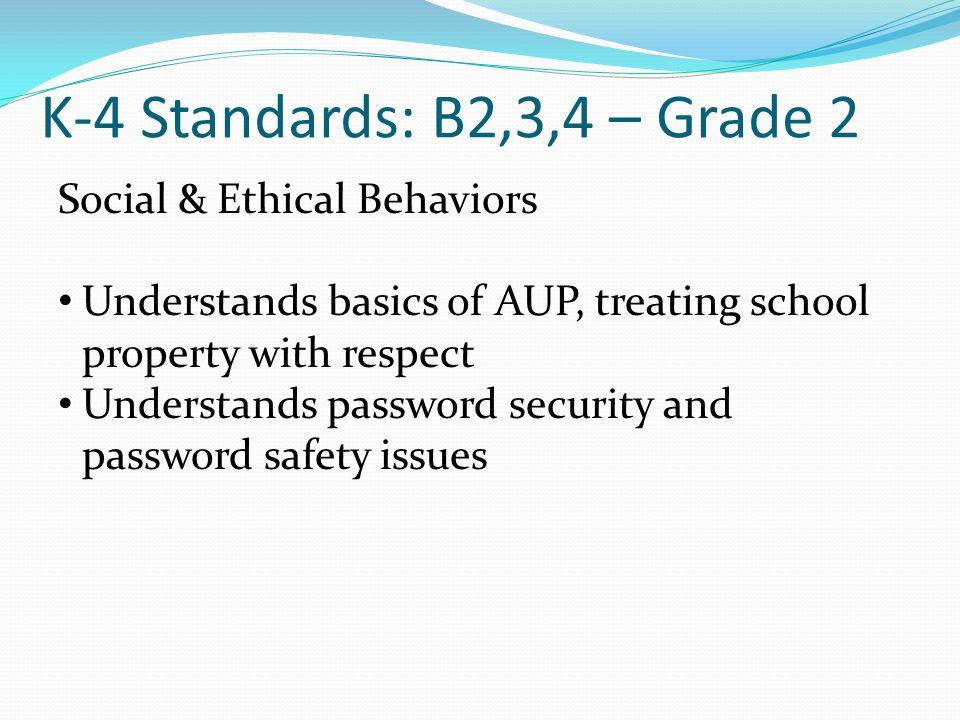 K-4 Standards: B2,3,4 – Grade 2 Social & Ethical Behaviors Understands basics of AUP, treating school property with respect Understands password security and password safety issues