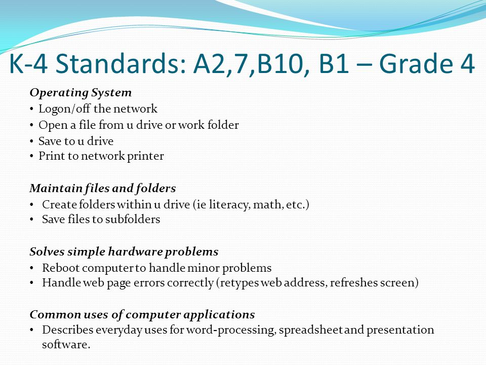 K-4 Standards: A2,7,B10, B1 – Grade 4 Operating System Logon/off the network Open a file from u drive or work folder Save to u drive Print to network printer Maintain files and folders Create folders within u drive (ie literacy, math, etc.) Save files to subfolders Solves simple hardware problems Reboot computer to handle minor problems Handle web page errors correctly (retypes web address, refreshes screen) Common uses of computer applications Describes everyday uses for word-processing, spreadsheet and presentation software.