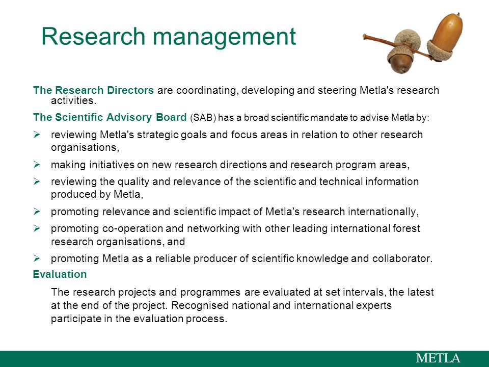 Research management The Research Directors are coordinating, developing and steering Metla s research activities.