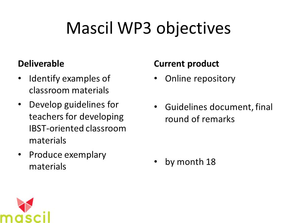Mascil WP3 objectives Deliverable Identify examples of classroom materials Develop guidelines for teachers for developing IBST-oriented classroom materials Produce exemplary materials Current product Online repository Guidelines document, final round of remarks by month 18