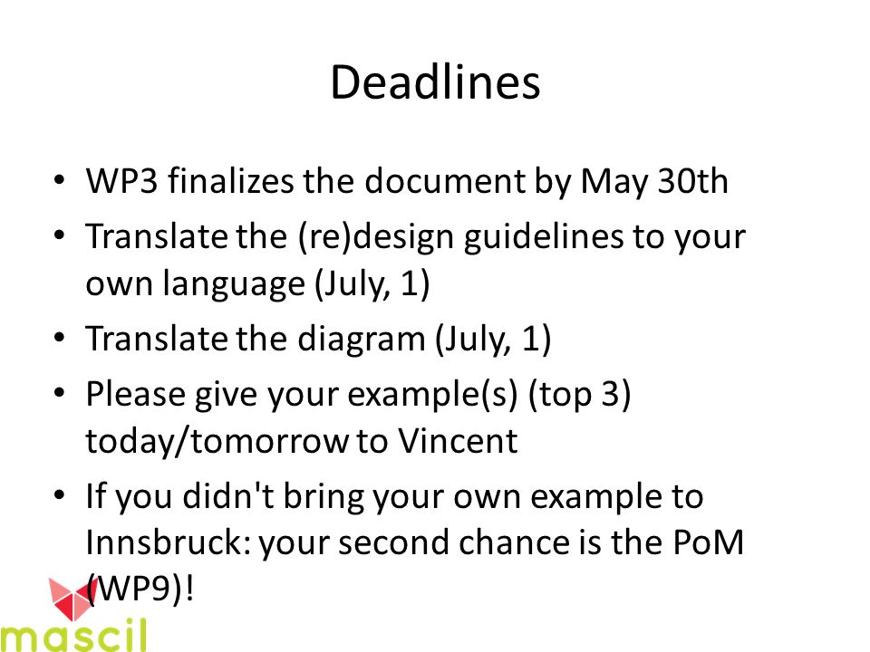 Deadlines WP3 finalizes the document by May 30th Translate the (re)design guidelines to your own language (July, 1) Translate the diagram (July, 1) Please give your example(s) (top 3) today/tomorrow to Vincent If you didn t bring your own example to Innsbruck: your second chance is the PoM (WP9)!
