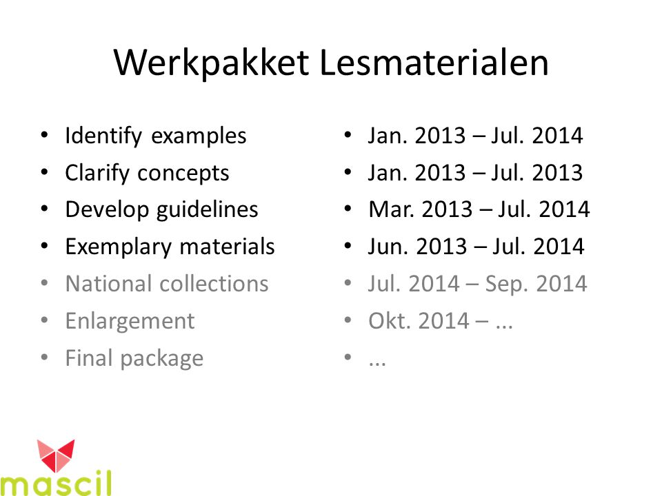 Werkpakket Lesmaterialen Identify examples Clarify concepts Develop guidelines Exemplary materials National collections Enlargement Final package Jan.