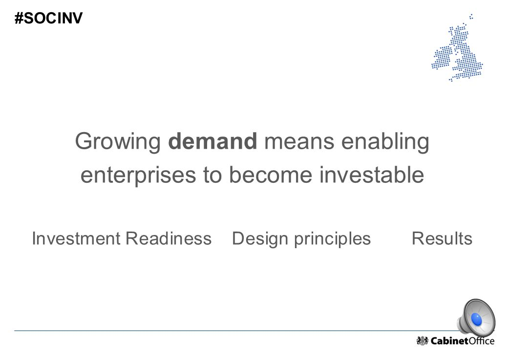Growing demand means enabling enterprises to become investable Investment Readiness Design principles Results