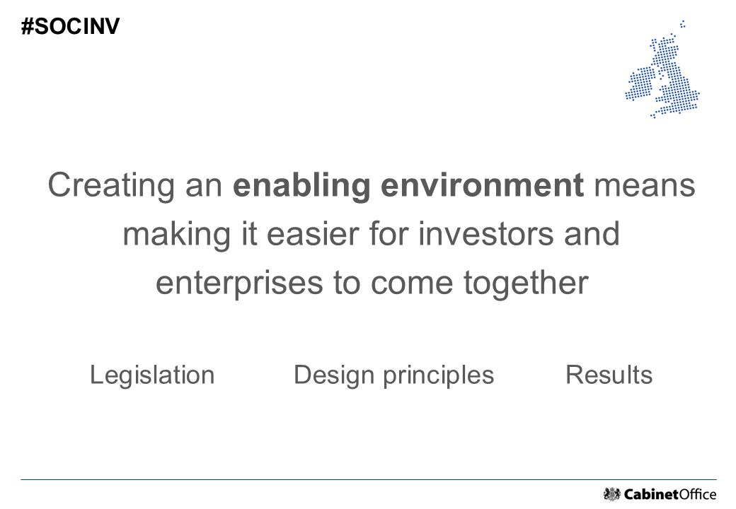 Creating an enabling environment means making it easier for investors and enterprises to come together LegislationDesign principlesResults